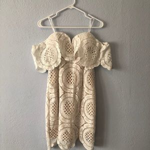 Crochet dress- strapless with sleeves